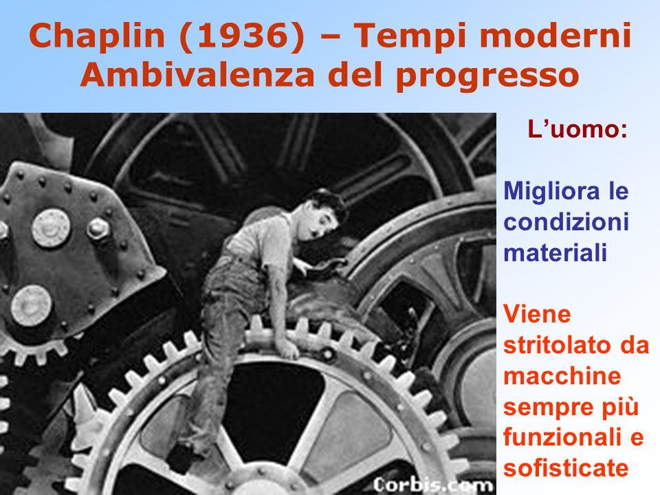 Chaplin (1936) – Tempi moderni Ambivalenza del progresso Luomo: Migliora le condizioni materiali Viene stritolato da macchine sempre più funzionali e