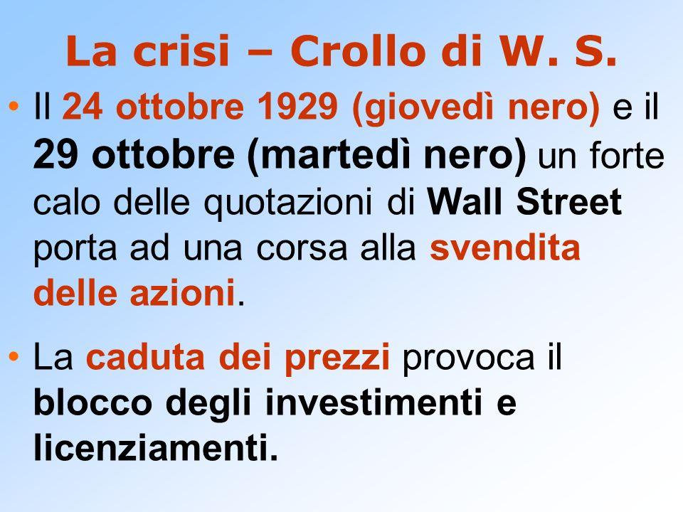 La crisi – Crollo di W. S. Il 24 ottobre 1929 (giovedì nero) e il 29 ottobre (martedì nero) un forte calo delle quotazioni di Wall Street porta ad una