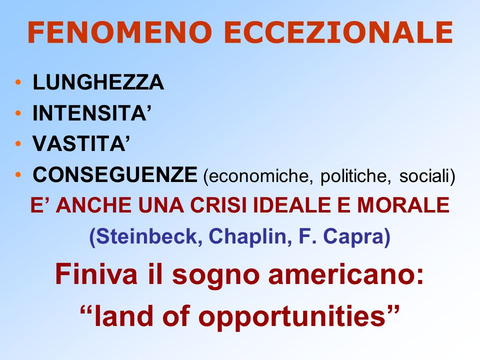 NIRA (1933) National Industrial Recovery Act Diminuire la concorrenza tra le Industrie.