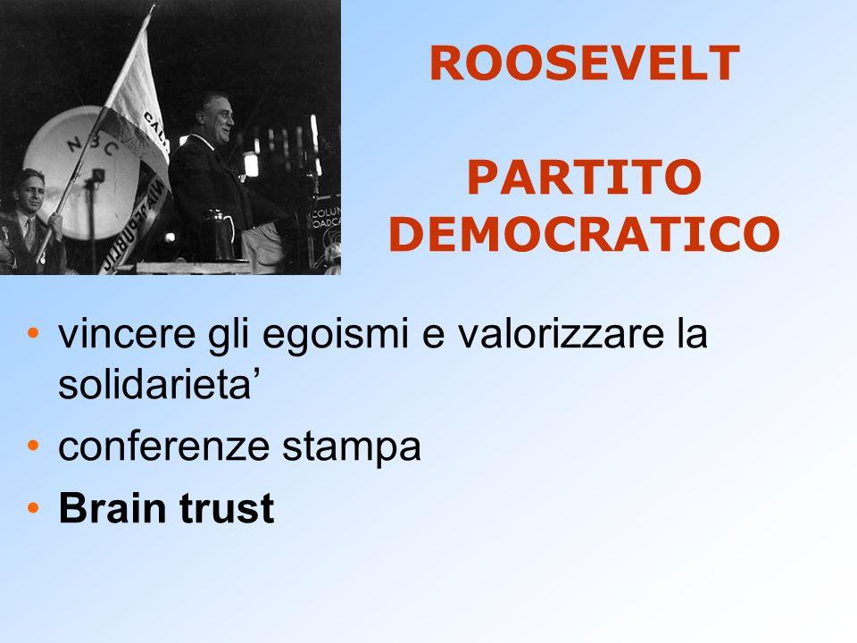 ROOSEVELT PARTITO DEMOCRATICO vincere gli egoismi e valorizzare la solidarieta conferenze stampa Brain trust