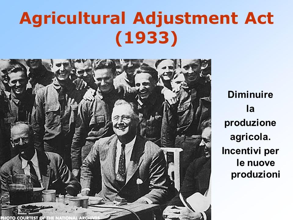 Agricultural Adjustment Act (1933) Diminuire la produzione agricola. Incentivi per le nuove produzioni