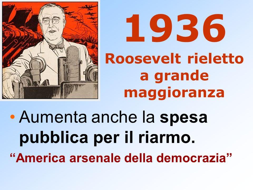 1936 Roosevelt rieletto a grande maggioranza Aumenta anche la spesa pubblica per il riarmo. America arsenale della democrazia