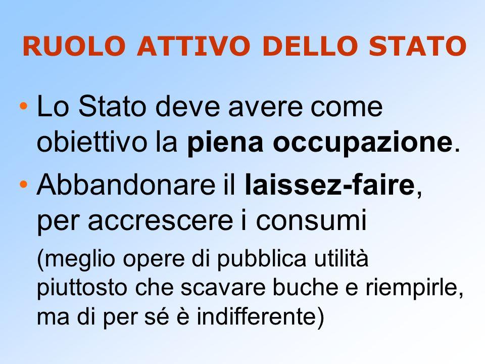 RUOLO ATTIVO DELLO STATO Lo Stato deve avere come obiettivo la piena occupazione. Abbandonare il laissez-faire, per accrescere i consumi (meglio opere
