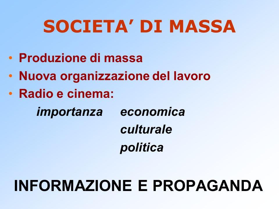 SOCIETA DI MASSA Produzione di massa Nuova organizzazione del lavoro Radio e cinema: importanza economica culturale politica INFORMAZIONE E PROPAGANDA