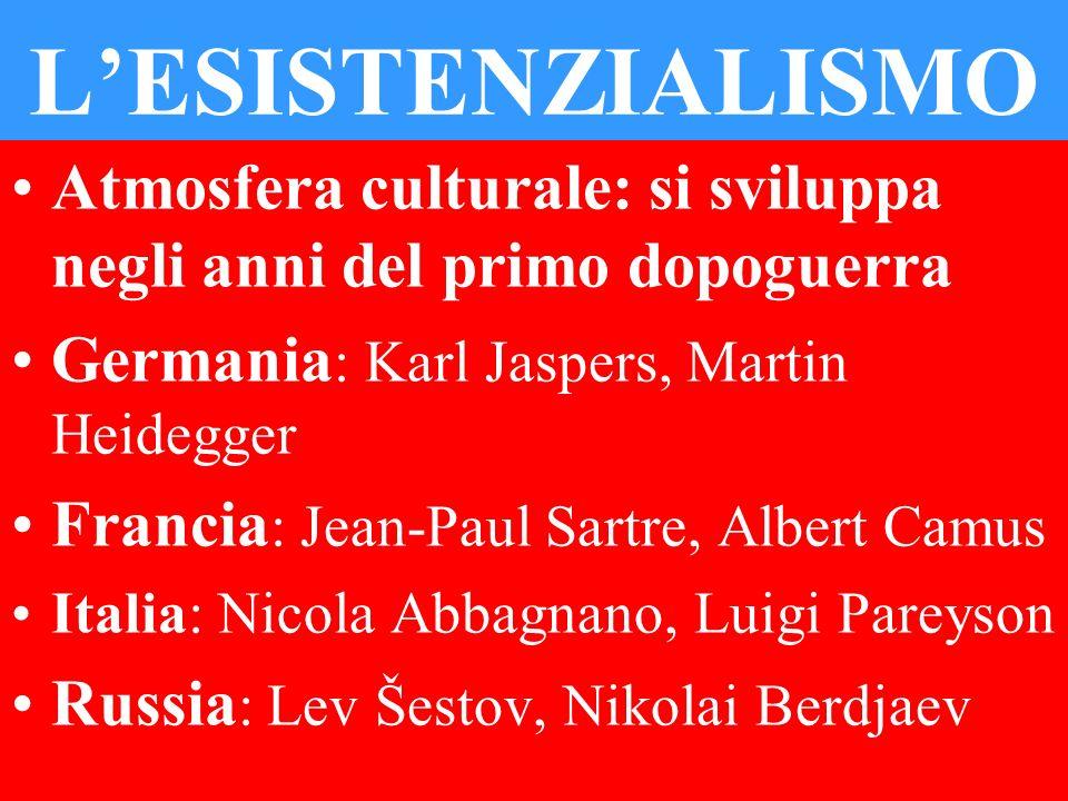 LESISTENZIALISMO Atmosfera culturale: si sviluppa negli anni del primo dopoguerra Germania : Karl Jaspers, Martin Heidegger Francia : Jean-Paul Sartre