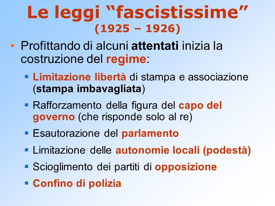 Le leggi fascistissime (1925 – 1926) Profittando di alcuni attentati inizia la costruzione del regime: Limitazione libertà di stampa e associazione (s