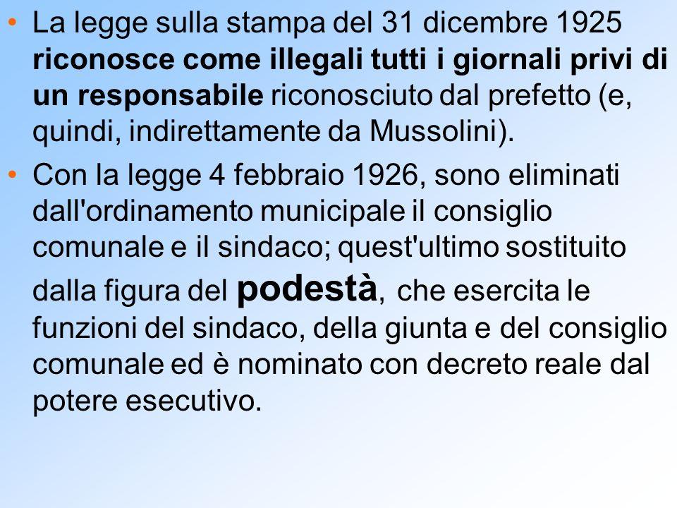 La legge sulla stampa del 31 dicembre 1925 riconosce come illegali tutti i giornali privi di un responsabile riconosciuto dal prefetto (e, quindi, ind