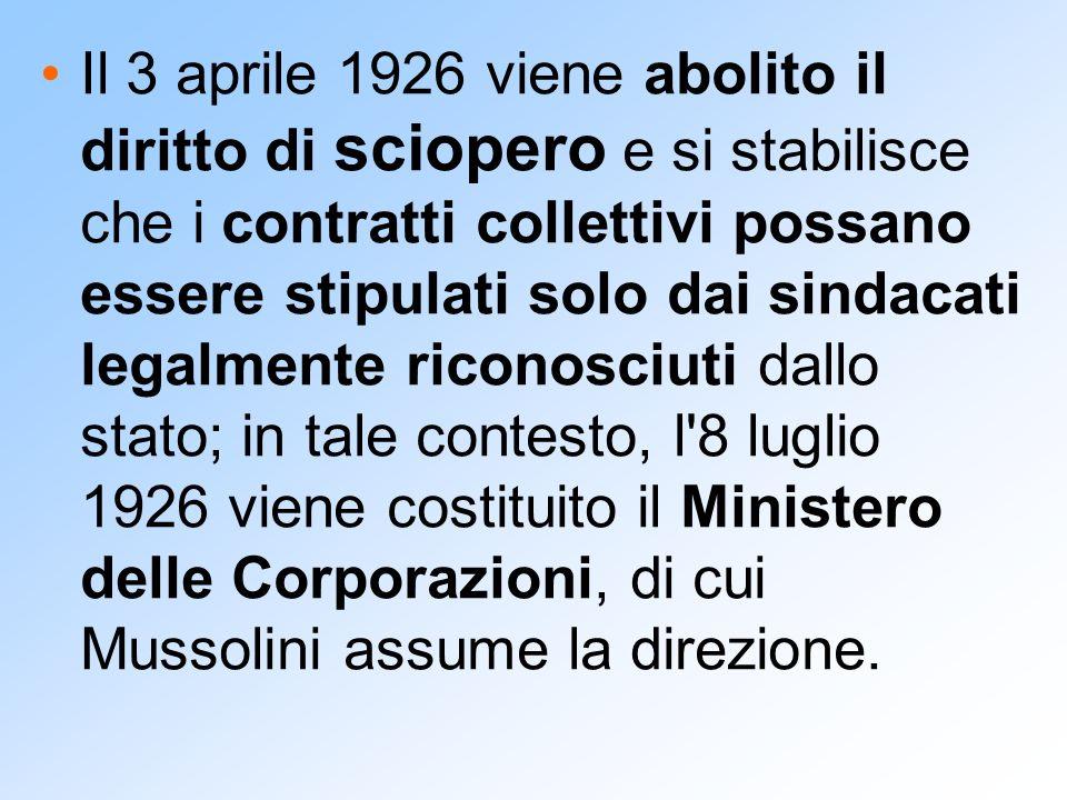 Il 3 aprile 1926 viene abolito il diritto di sciopero e si stabilisce che i contratti collettivi possano essere stipulati solo dai sindacati legalment