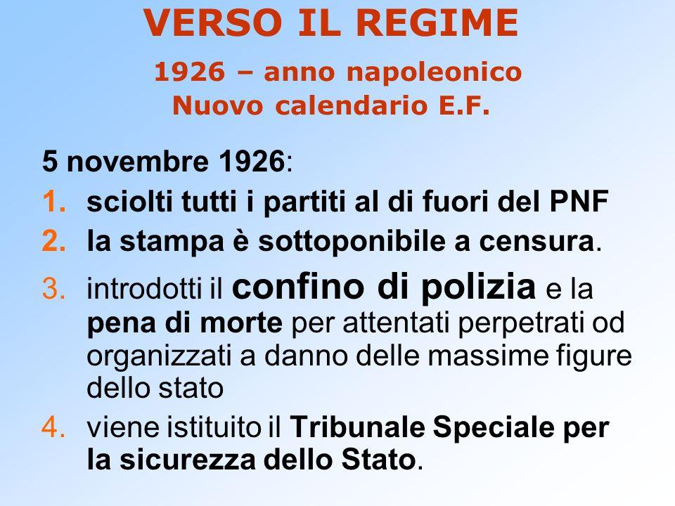 VERSO IL REGIME 1926 – anno napoleonico Nuovo calendario E.F. 5 novembre 1926: 1.sciolti tutti i partiti al di fuori del PNF 2.la stampa è sottoponibi