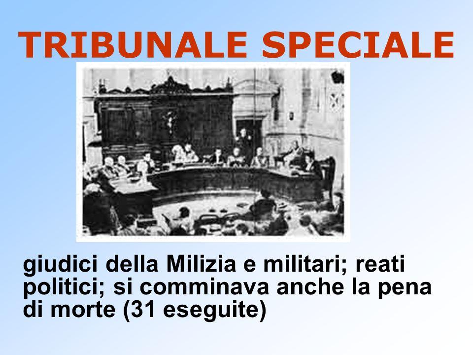 TRIBUNALE SPECIALE giudici della Milizia e militari; reati politici; si comminava anche la pena di morte (31 eseguite)
