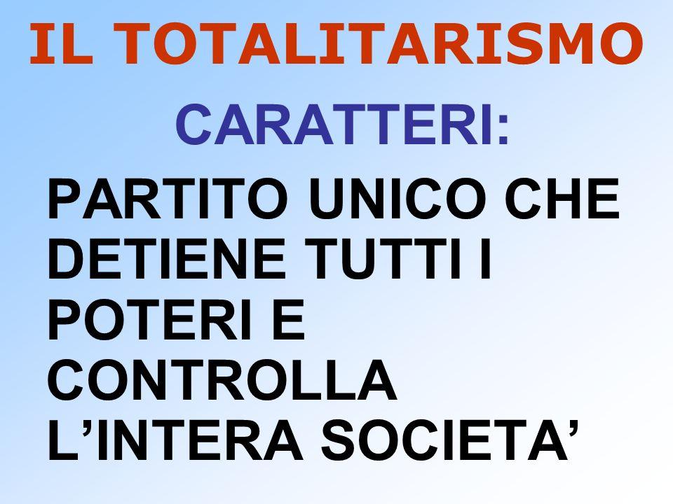 IL TOTALITARISMO CARATTERI: PARTITO UNICO CHE DETIENE TUTTI I POTERI E CONTROLLA LINTERA SOCIETA