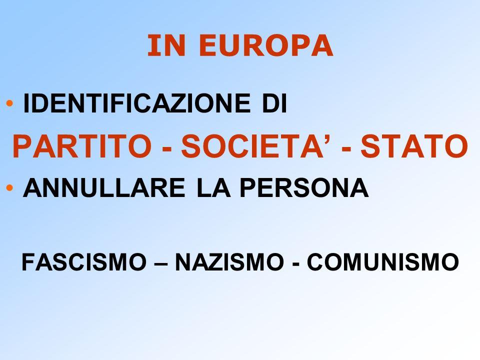 IN EUROPA IDENTIFICAZIONE DI PARTITO - SOCIETA - STATO ANNULLARE LA PERSONA FASCISMO – NAZISMO - COMUNISMO
