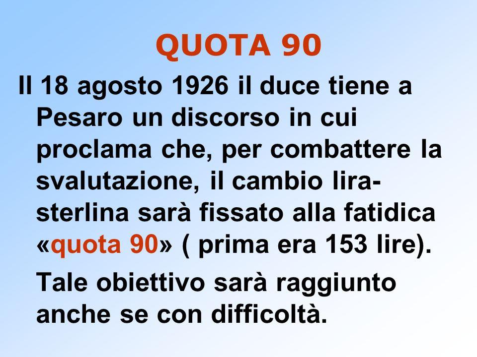 QUOTA 90 Il 18 agosto 1926 il duce tiene a Pesaro un discorso in cui proclama che, per combattere la svalutazione, il cambio lira- sterlina sarà fissa