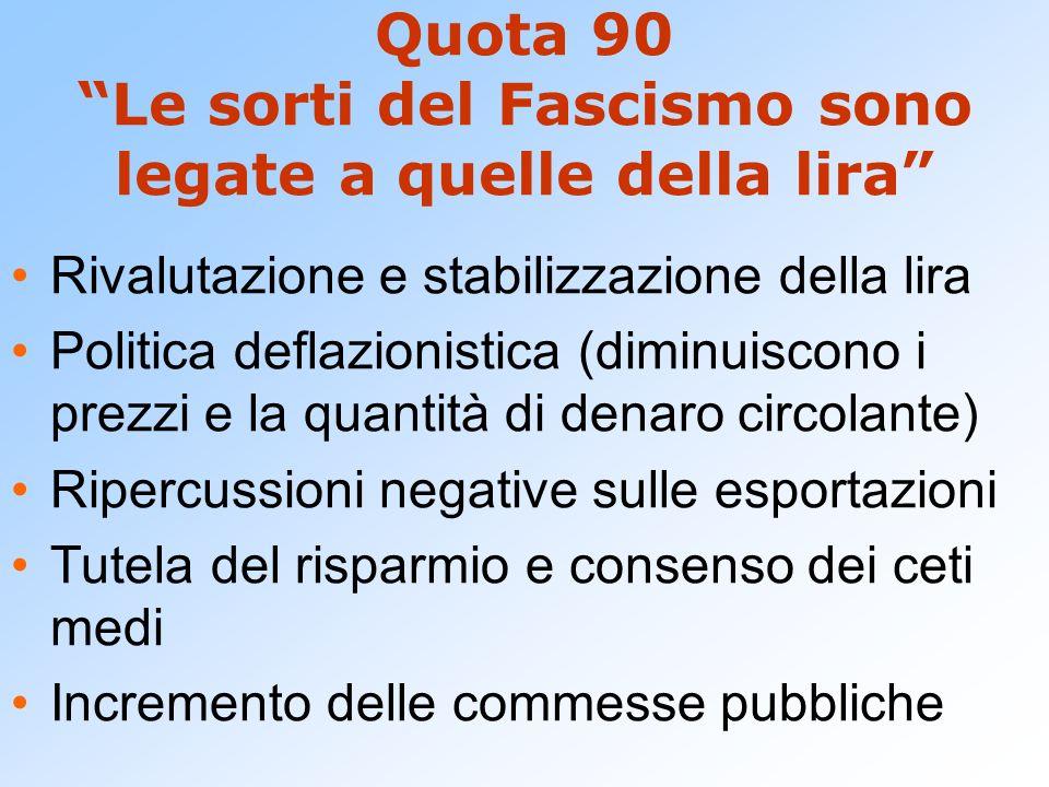 Quota 90 Le sorti del Fascismo sono legate a quelle della lira Rivalutazione e stabilizzazione della lira Politica deflazionistica (diminuiscono i pre