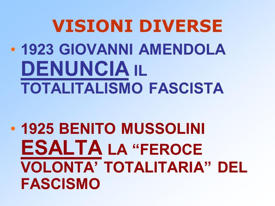 VISIONI DIVERSE 1923 GIOVANNI AMENDOLA DENUNCIA IL TOTALITALISMO FASCISTA 1925 BENITO MUSSOLINI ESALTA LA FEROCE VOLONTA TOTALITARIA DEL FASCISMO