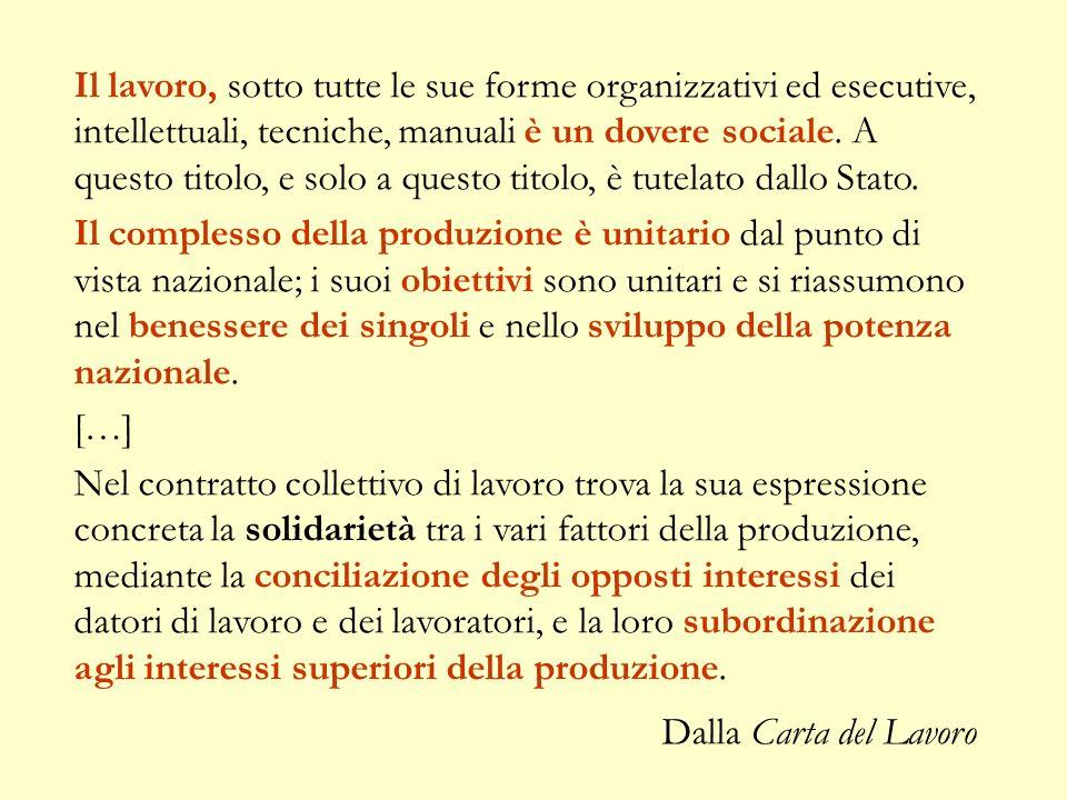 Il lavoro, sotto tutte le sue forme organizzativi ed esecutive, intellettuali, tecniche, manuali è un dovere sociale. A questo titolo, e solo a questo