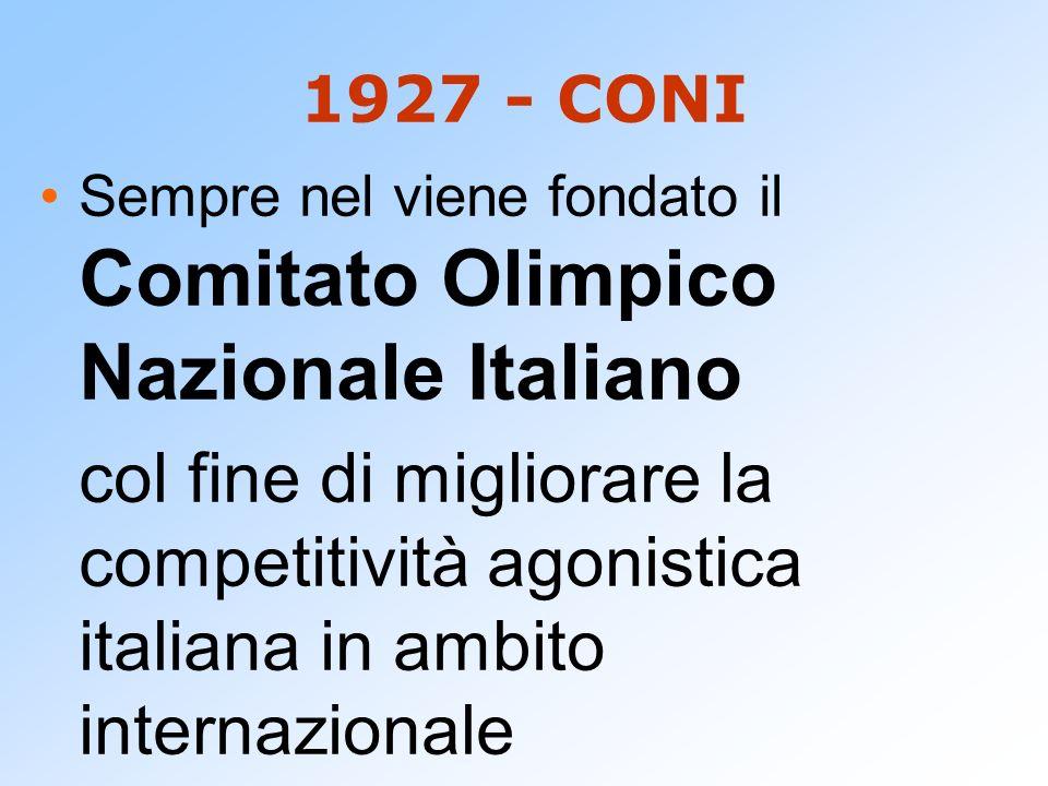 1927 - CONI Sempre nel viene fondato il Comitato Olimpico Nazionale Italiano col fine di migliorare la competitività agonistica italiana in ambito int