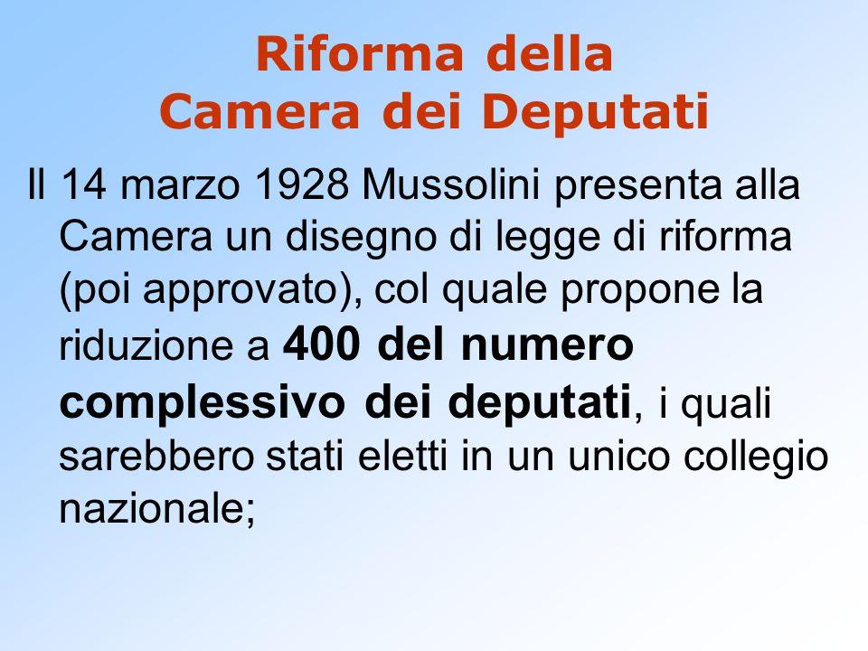 Riforma della Camera dei Deputati Il 14 marzo 1928 Mussolini presenta alla Camera un disegno di legge di riforma (poi approvato), col quale propone la