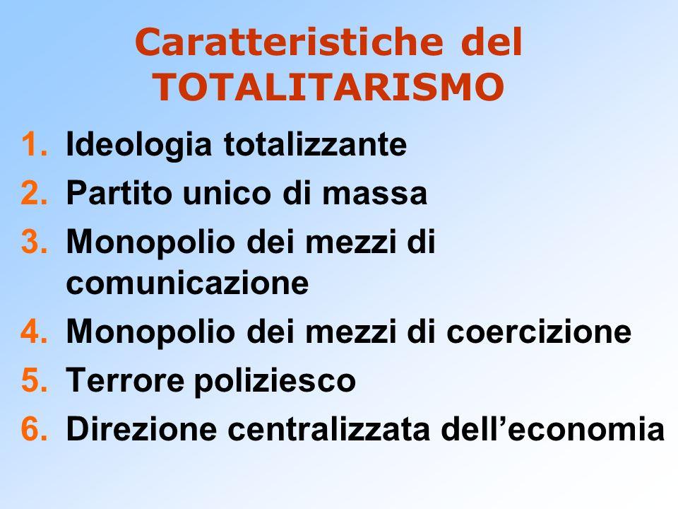 Caratteristiche del TOTALITARISMO 1.Ideologia totalizzante 2.Partito unico di massa 3.Monopolio dei mezzi di comunicazione 4.Monopolio dei mezzi di co