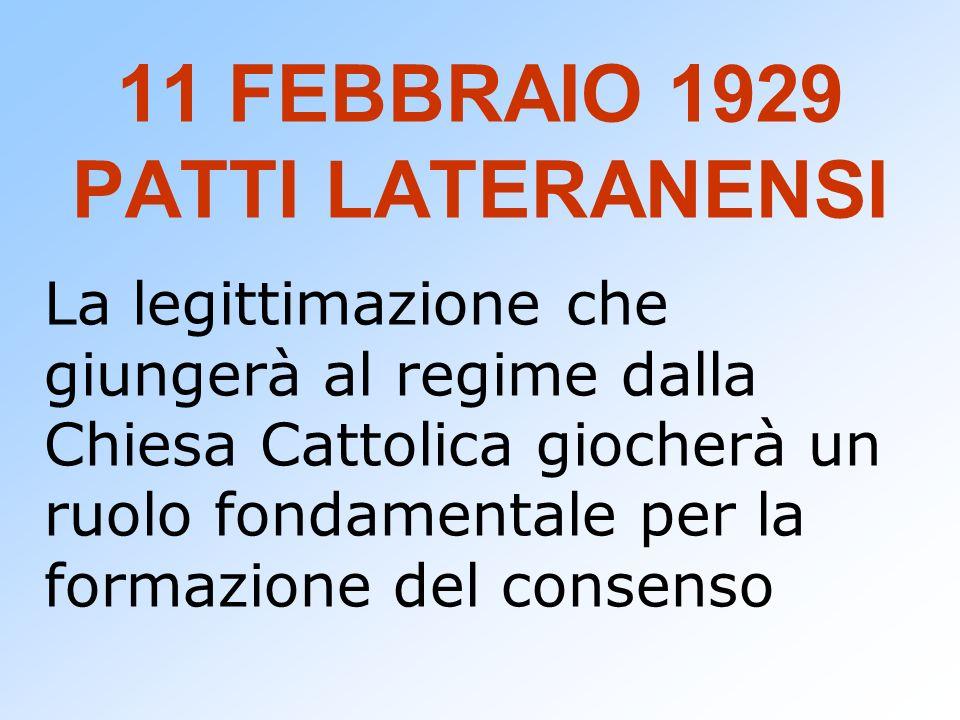 11 FEBBRAIO 1929 PATTI LATERANENSI La legittimazione che giungerà al regime dalla Chiesa Cattolica giocherà un ruolo fondamentale per la formazione de