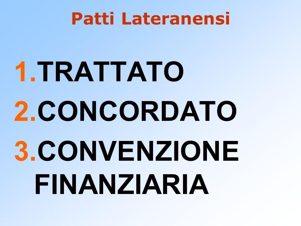 Patti Lateranensi 1.TRATTATO 2.CONCORDATO 3.CONVENZIONE FINANZIARIA