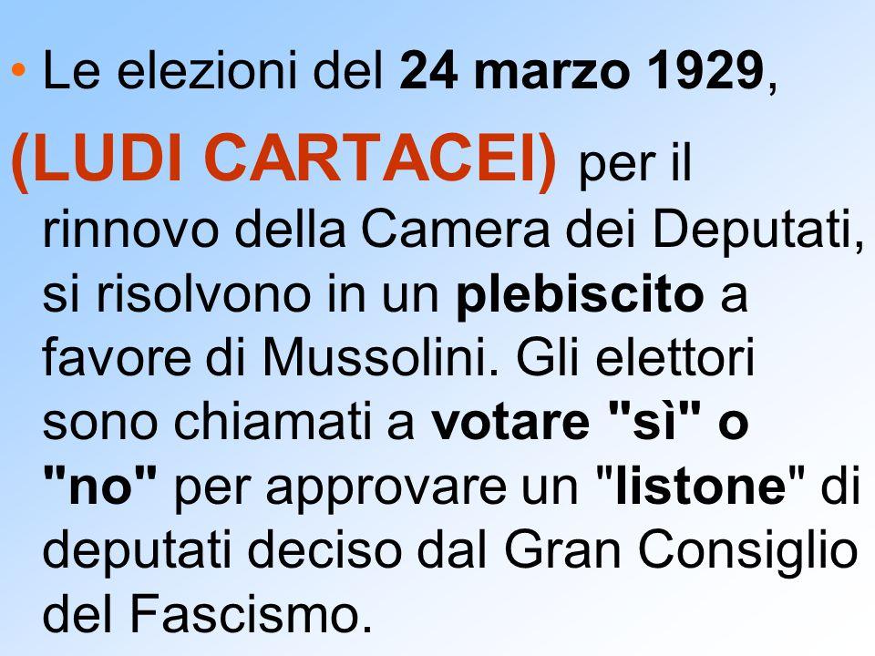 Le elezioni del 24 marzo 1929, (LUDI CARTACEI) per il rinnovo della Camera dei Deputati, si risolvono in un plebiscito a favore di Mussolini. Gli elet