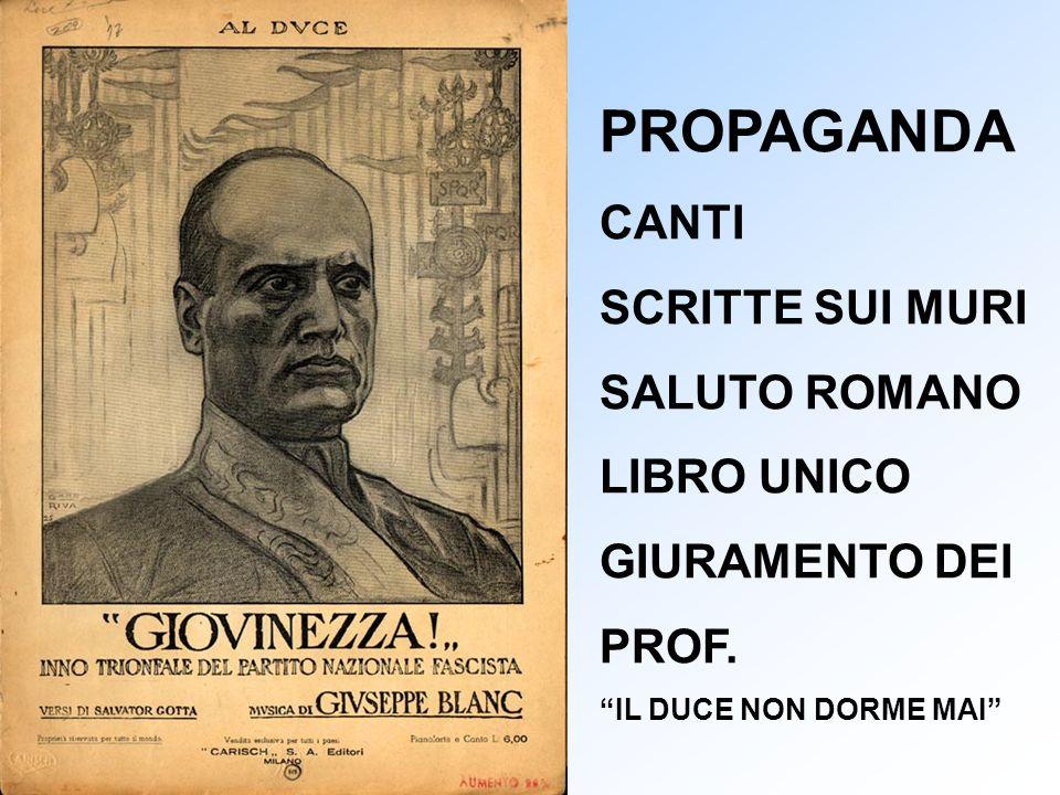 PROPAGANDA CANTI SCRITTE SUI MURI SALUTO ROMANO LIBRO UNICO GIURAMENTO DEI PROF. IL DUCE NON DORME MAI