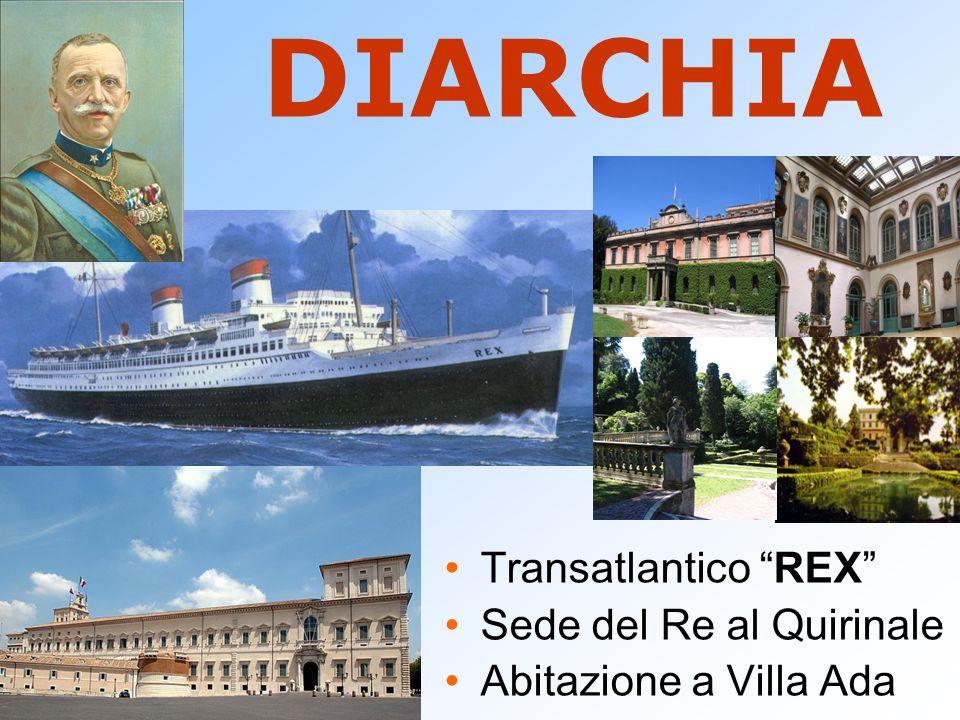 DIARCHIA Transatlantico REX Sede del Re al Quirinale Abitazione a Villa Ada