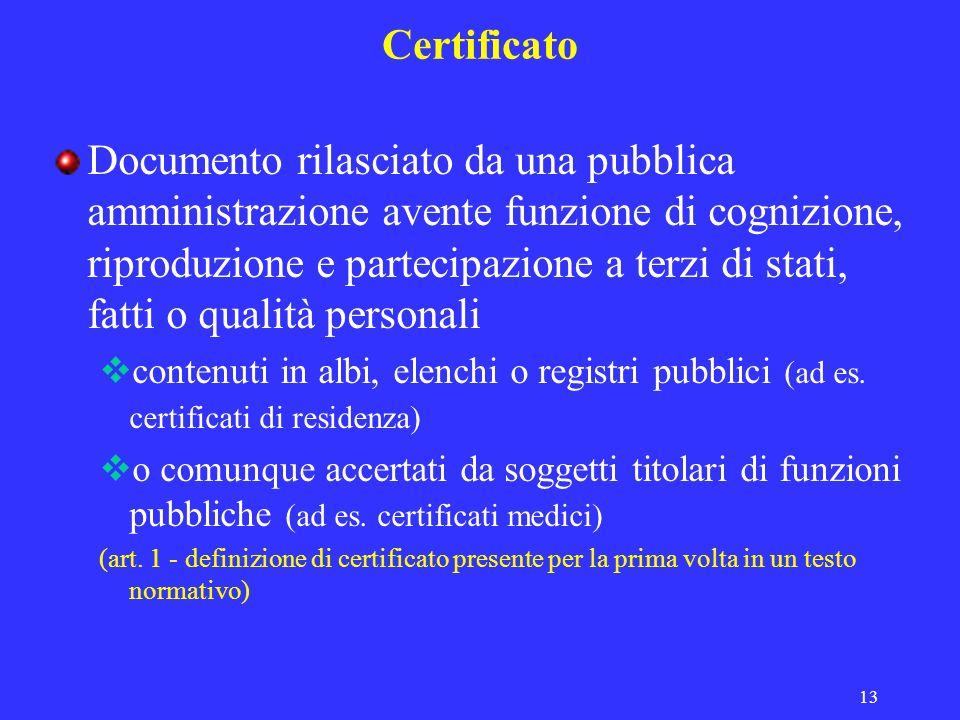 13 Certificato Documento rilasciato da una pubblica amministrazione avente funzione di cognizione, riproduzione e partecipazione a terzi di stati, fatti o qualità personali contenuti in albi, elenchi o registri pubblici (ad es.
