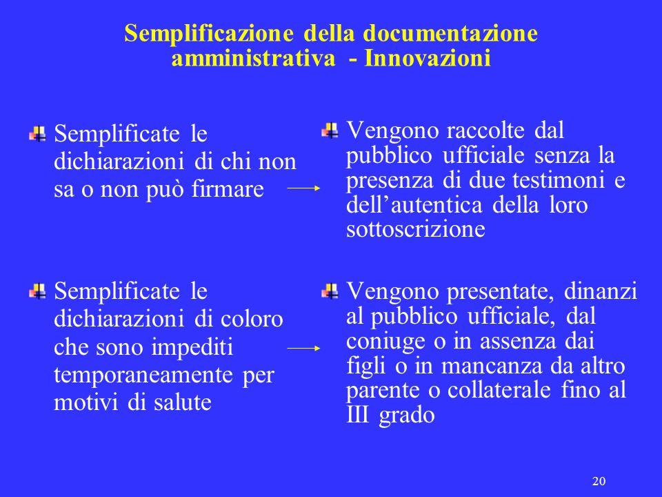 20 Semplificazione della documentazione amministrativa - Innovazioni Semplificate le dichiarazioni di chi non sa o non può firmare Semplificate le dic