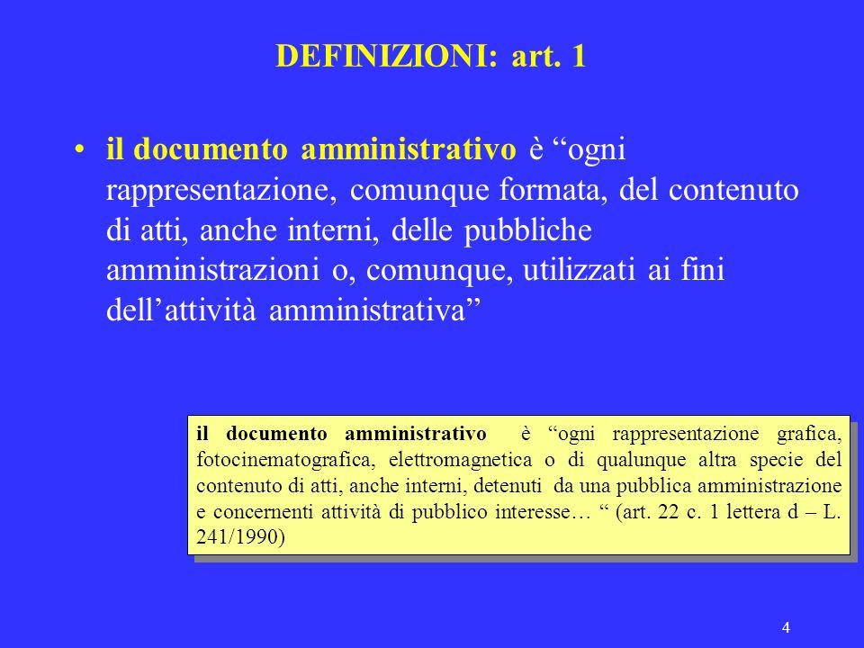 4 DEFINIZIONI: art. 1 il documento amministrativo è ogni rappresentazione, comunque formata, del contenuto di atti, anche interni, delle pubbliche amm