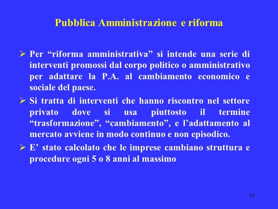 14 Pubblica Amministrazione e riforma Gli Stati industriali avanzati ente di funzioni di ordine e di base, tipicamente autoritativi enti gestori di se