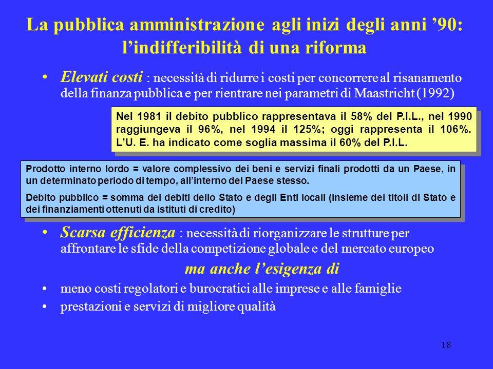 17 Rapporto sui principali problemi dellAmministrazione dello Stato Proposte di interventi concernenti gli aspetti istituzionali Ristrutturazione dell