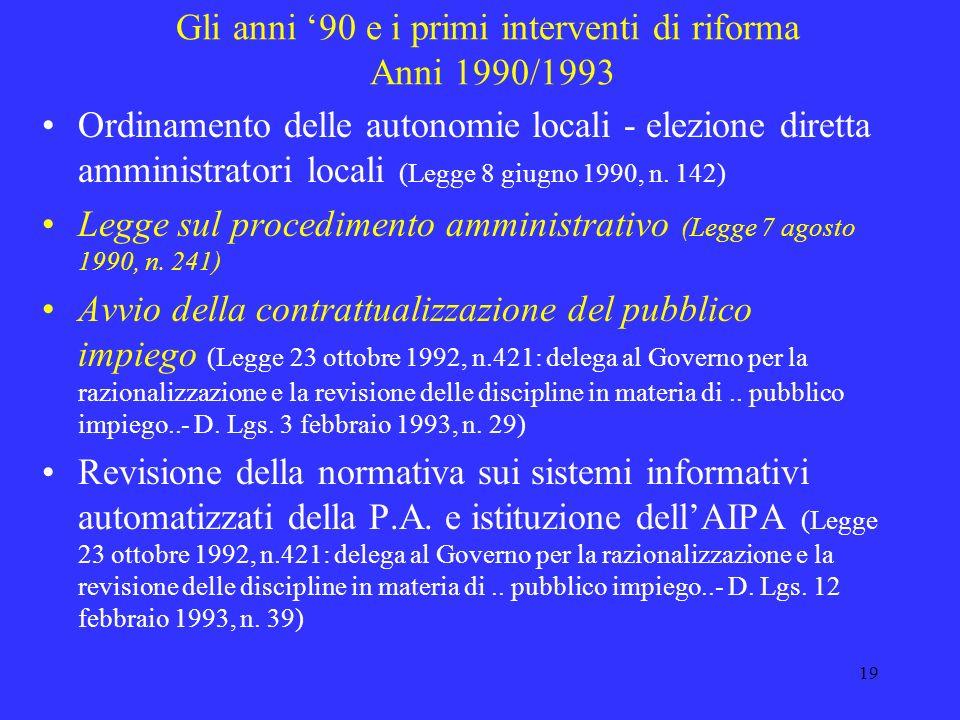 18 La pubblica amministrazione agli inizi degli anni 90: lindifferibilità di una riforma Elevati costi : necessità di ridurre i costi per concorrere a