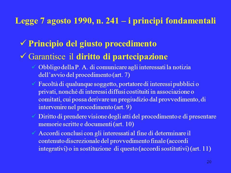 19 Gli anni 90 e i primi interventi di riforma Anni 1990/1993 Ordinamento delle autonomie locali - elezione diretta amministratori locali (Legge 8 giu