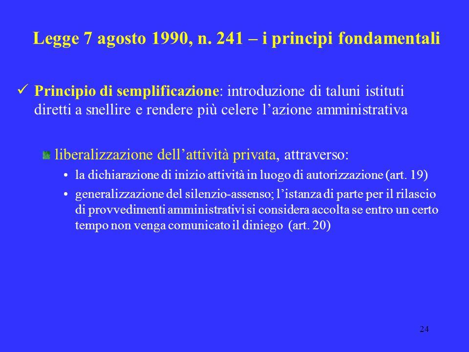 23 Legge 7 agosto 1990, n. 241 – i principi fondamentali Principio di semplificazione: introduzione di taluni istituti diretti a snellire e rendere pi