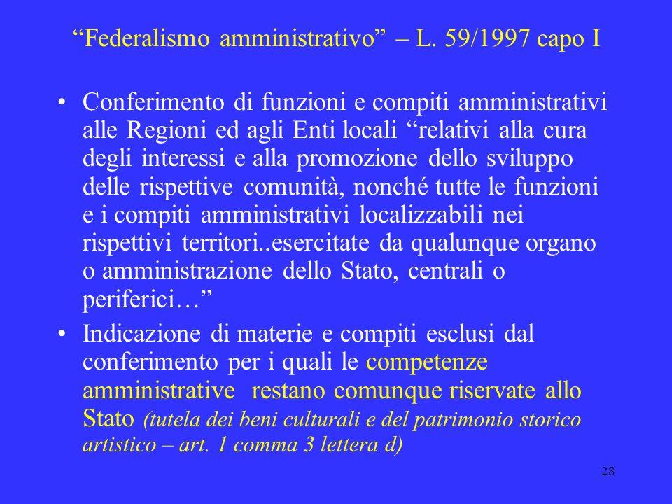 27 I principali ambiti della Riforma della P. A. Federalismo amministrativo Riforma dei Ministeri Completamento riforma del lavoro pubblico Amministra
