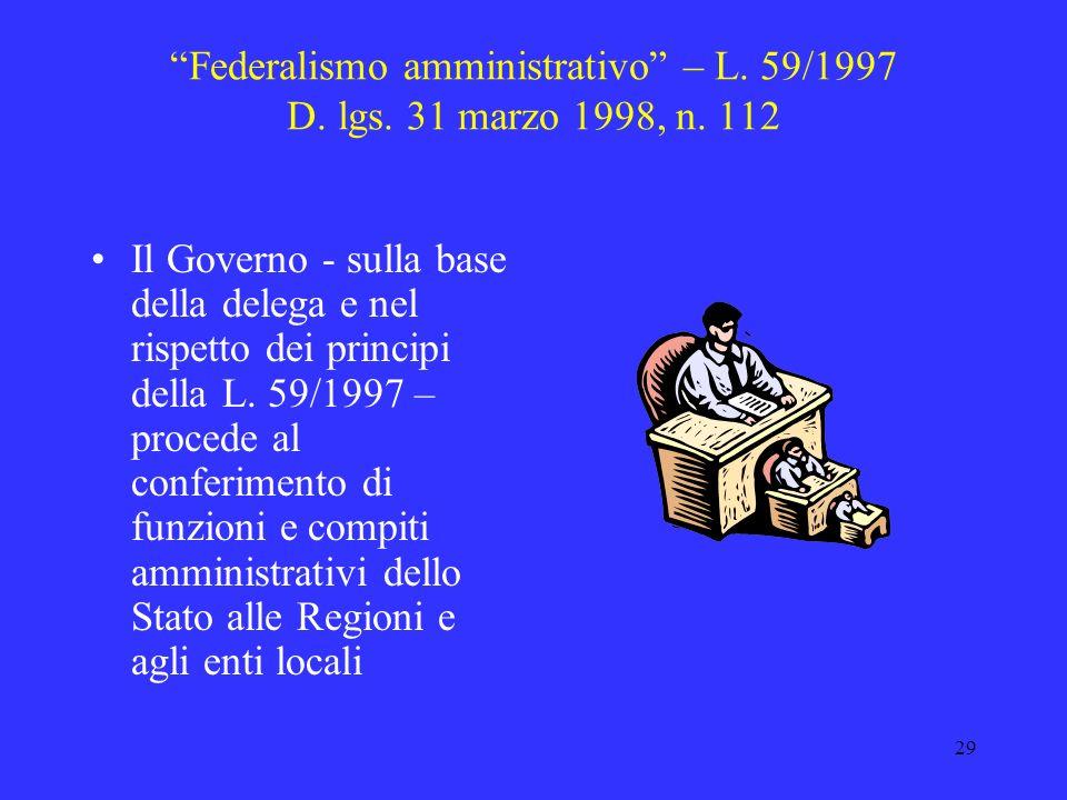 28 Federalismo amministrativo – L. 59/1997 capo I Conferimento di funzioni e compiti amministrativi alle Regioni ed agli Enti locali relativi alla cur