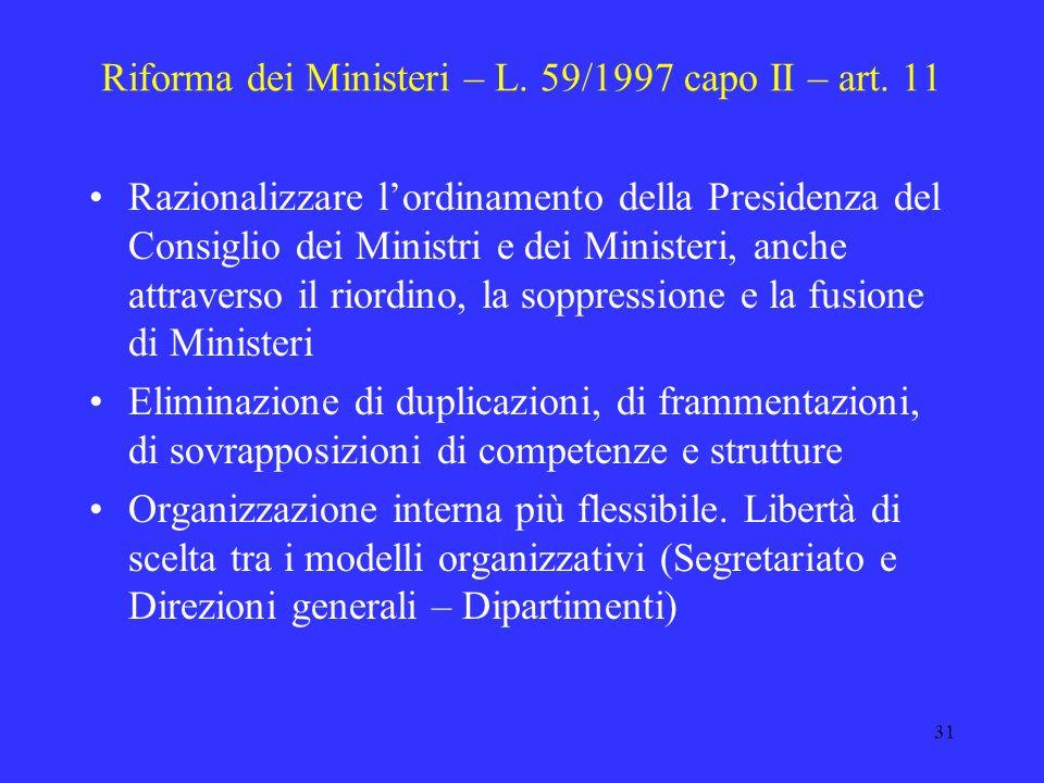 30 Federalismo amministrativo – L. 59/1997 D. lgs. 31 marzo 1998, n. 112 – funzioni riservate allo Stato Titolo IV (servizi alla persona e alla comuni