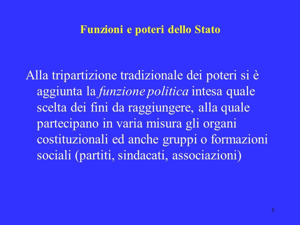 5 Funzioni e poteri dello Stato Alla tripartizione tradizionale dei poteri si è aggiunta la funzione politica intesa quale scelta dei fini da raggiungere, alla quale partecipano in varia misura gli organi costituzionali ed anche gruppi o formazioni sociali (partiti, sindacati, associazioni)