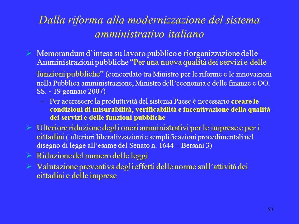 52 Dalla riforma alla modernizzazione del sistema amministrativo italiano Necessità di sviluppare lazione di modernizzazione per superare: bassa quali