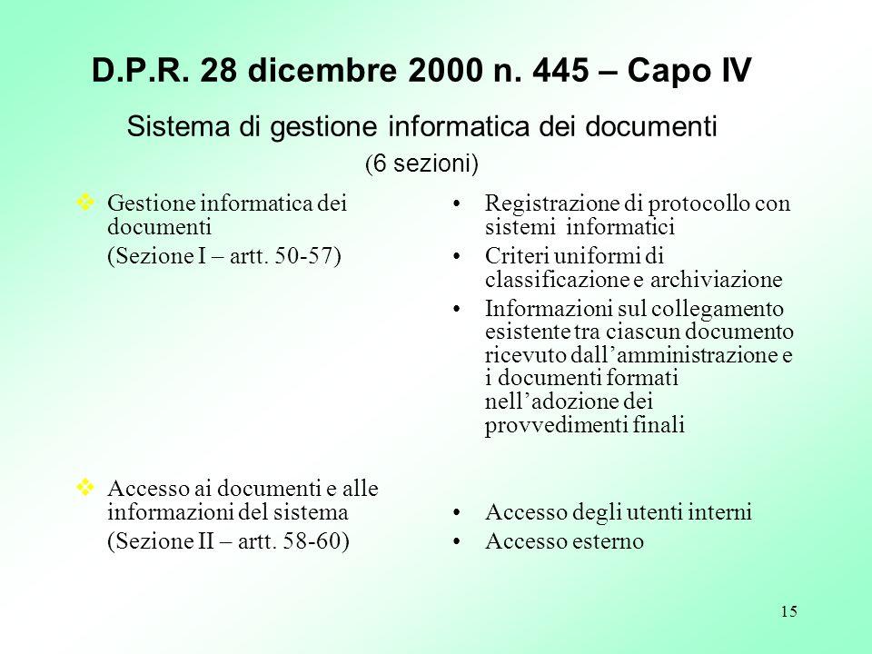 15 D.P.R. 28 dicembre 2000 n. 445 – Capo IV Sistema di gestione informatica dei documenti ( 6 sezioni) Gestione informatica dei documenti (Sezione I –