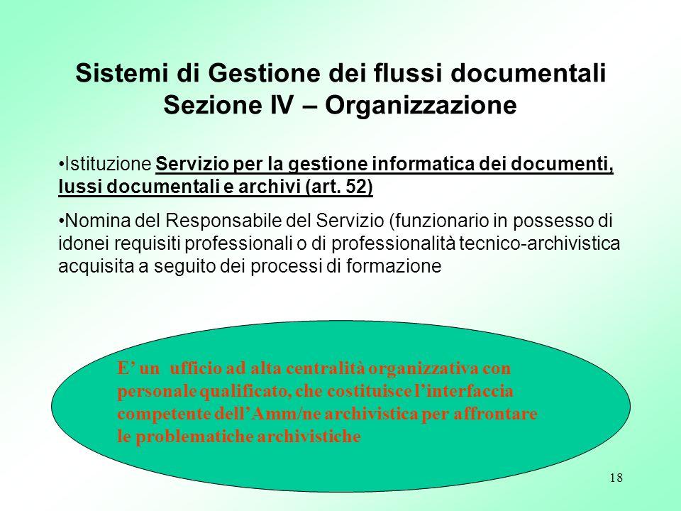 18 Istituzione Servizio per la gestione informatica dei documenti, lussi documentali e archivi (art. 52) Nomina del Responsabile del Servizio (funzion