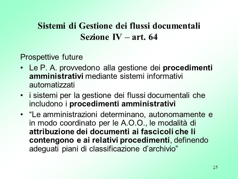 25 Sistemi di Gestione dei flussi documentali Sezione IV – art. 64 Prospettive future Le P. A. provvedono alla gestione dei procedimenti amministrativ