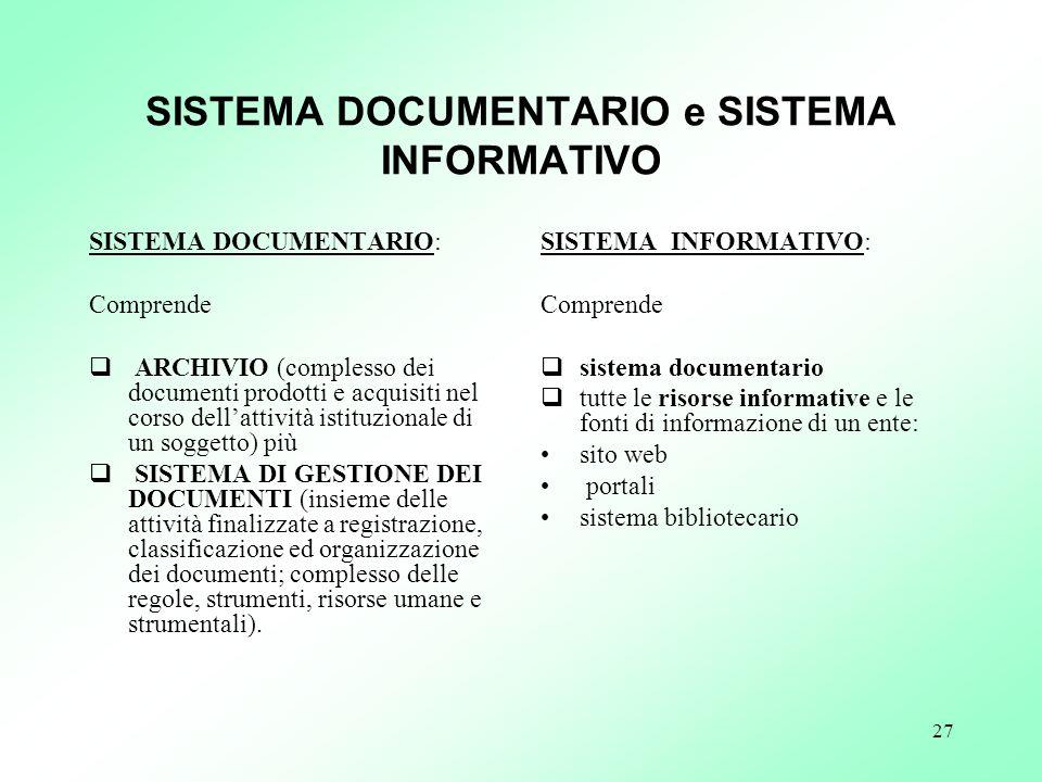27 SISTEMA DOCUMENTARIO e SISTEMA INFORMATIVO SISTEMA DOCUMENTARIO: Comprende ARCHIVIO (complesso dei documenti prodotti e acquisiti nel corso dellatt