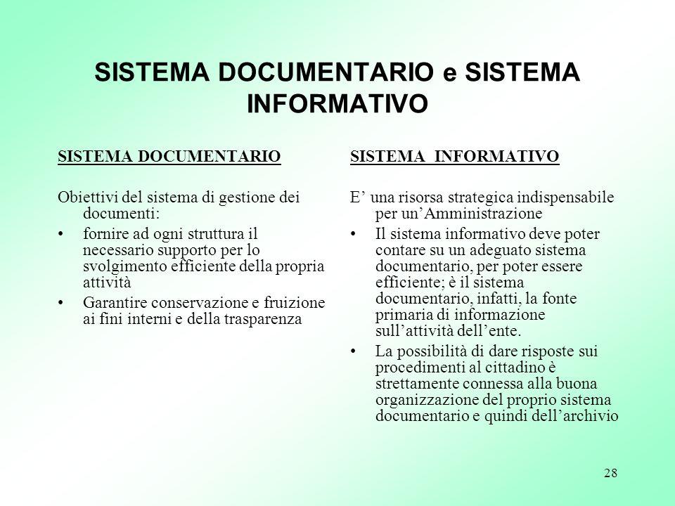 28 SISTEMA DOCUMENTARIO e SISTEMA INFORMATIVO SISTEMA DOCUMENTARIO Obiettivi del sistema di gestione dei documenti: fornire ad ogni struttura il neces
