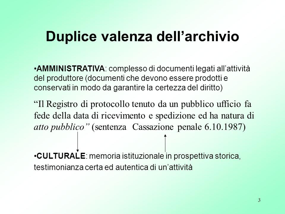 3 AMMINISTRATIVA: complesso di documenti legati allattività del produttore (documenti che devono essere prodotti e conservati in modo da garantire la