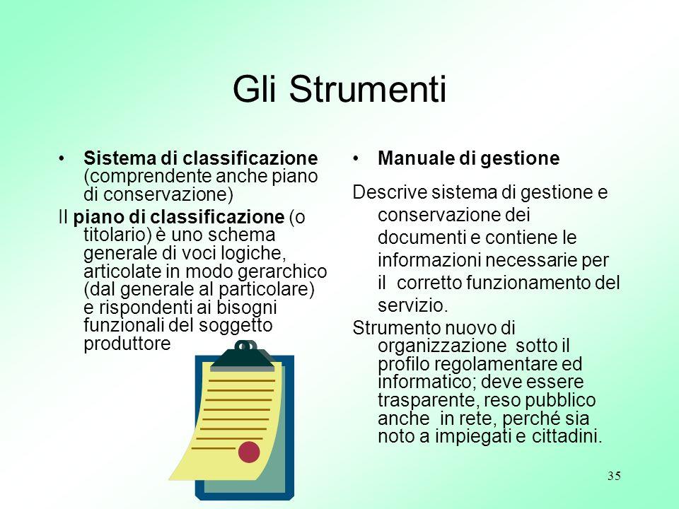 35 Gli Strumenti Sistema di classificazione (comprendente anche piano di conservazione) Il piano di classificazione (o titolario) è uno schema general
