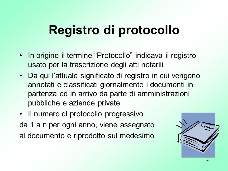 4 Registro di protocollo In origine il termine Protocollo indicava il registro usato per la trascrizione degli atti notarili Da qui lattuale significa