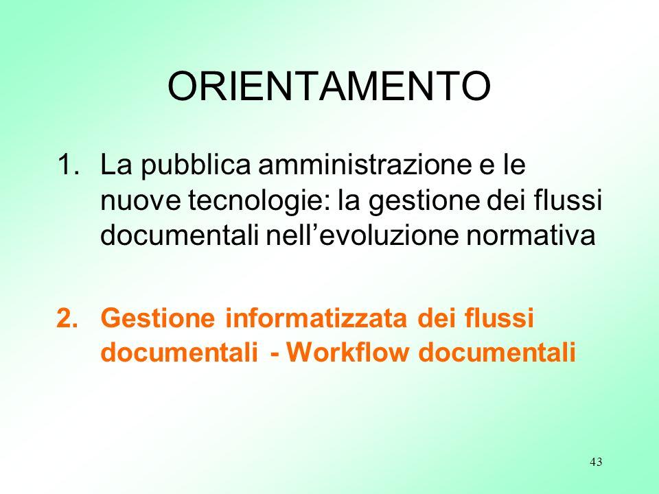 43 ORIENTAMENTO 1.La pubblica amministrazione e le nuove tecnologie: la gestione dei flussi documentali nellevoluzione normativa 2.Gestione informatiz